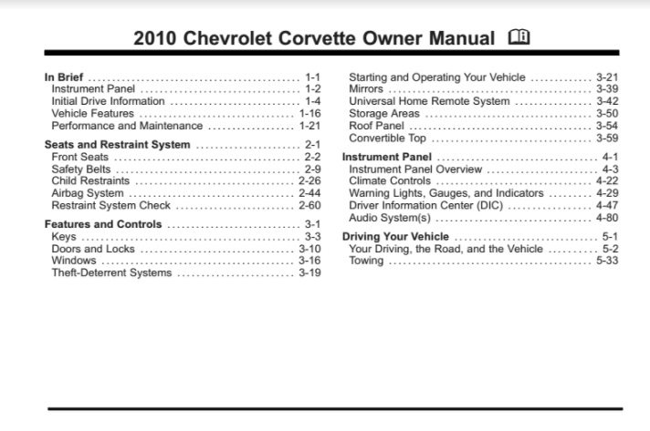 1985 corvette owners manual download