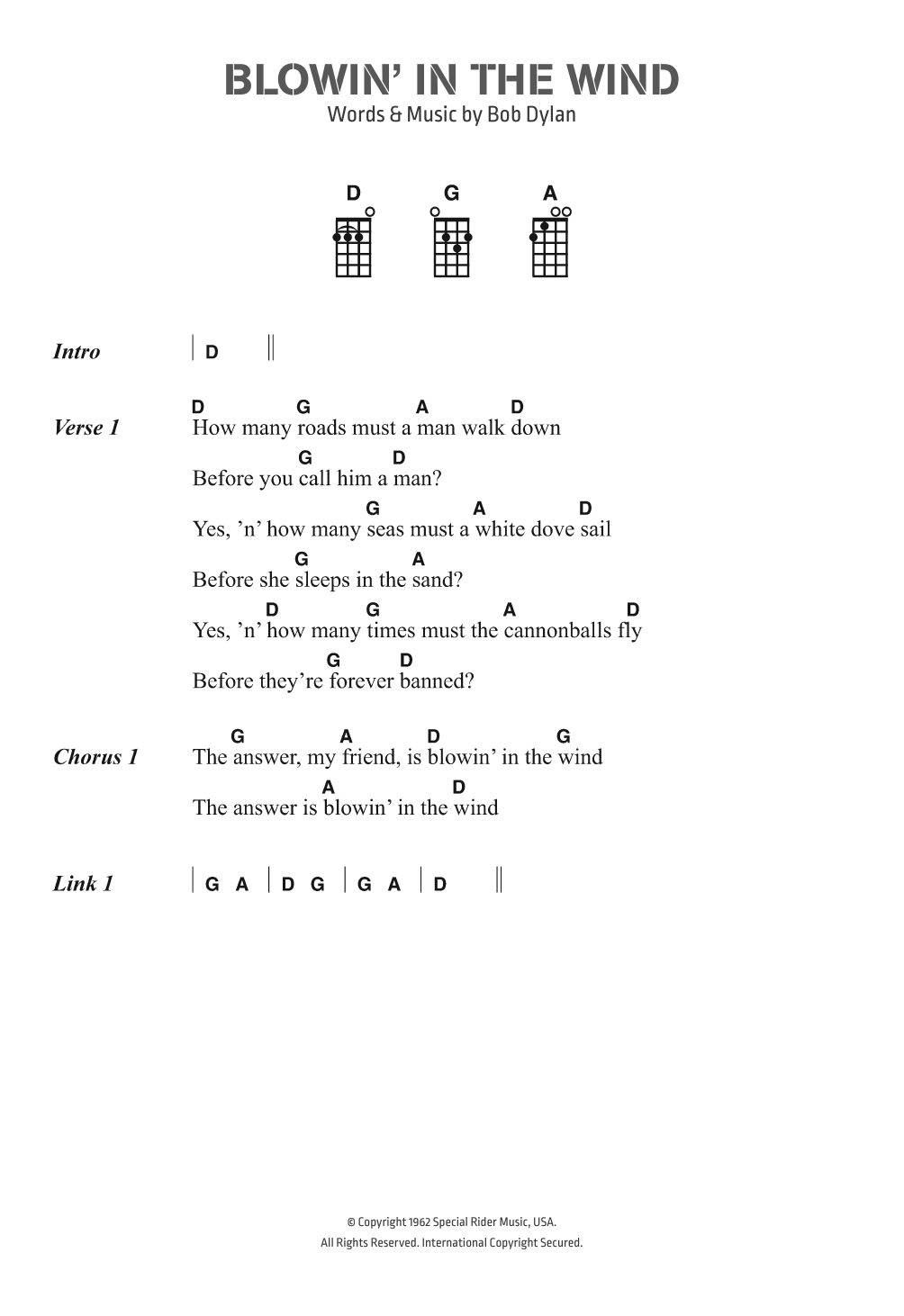 Blowing in the wind chords pdf