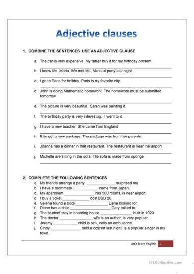 Relative clause worksheet with answers pdf