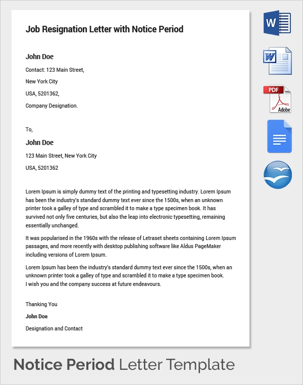 Advance notice meaning job application