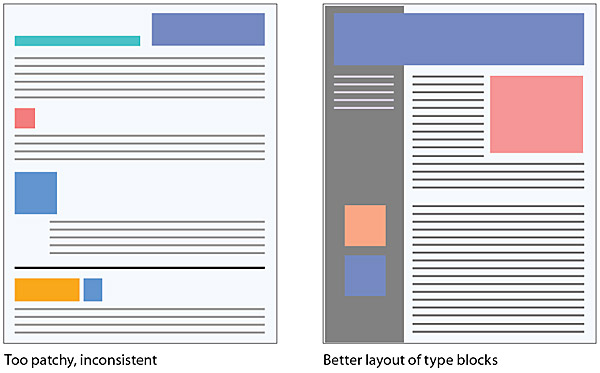 How is contrast important in a well designed document