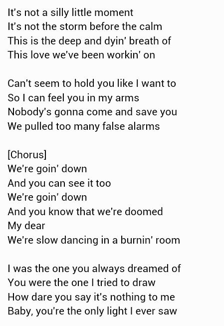 Slow dancing in a burning room lyrics pdf
