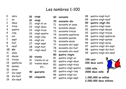 French numbers 1 100 pdf