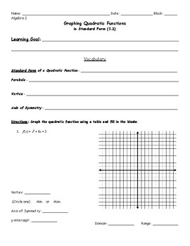 Graphing quadratic functions notes pdf