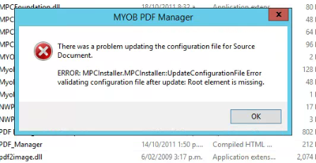 Myob pdf manager root element is missing