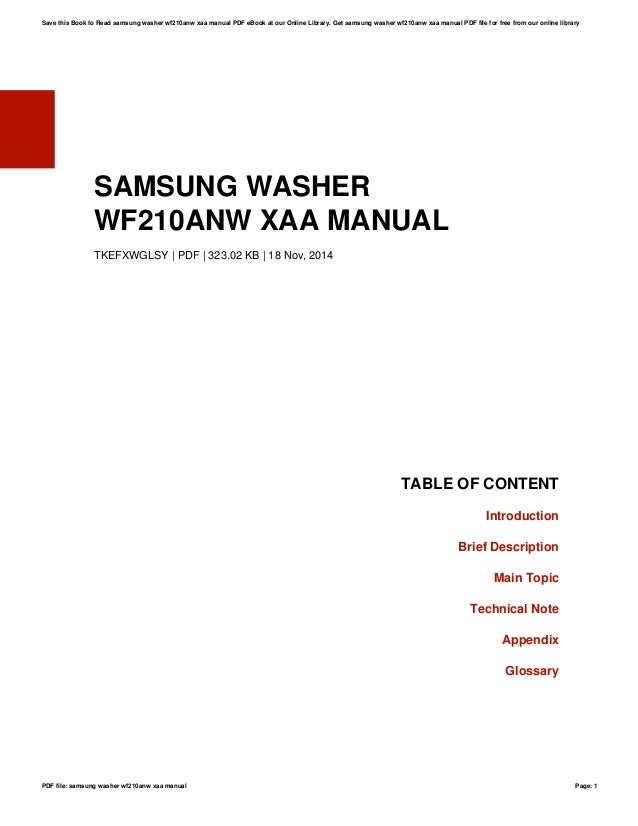 Samsung front load washer manual wf210anw